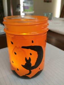 Orange lantern with battery operated tealight