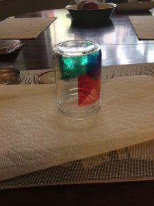 The beginning stages of my mason jar, I chose geometric shapes.