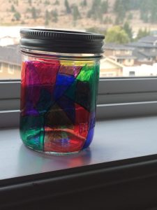 Here's my mason jar completely finished and sitting on a window sill!