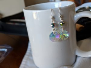 My crystal drop earring are simple, but pretty.