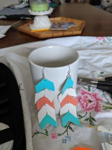 After connecting some split rings, you'll have a lovely set of chevron leather earrings!