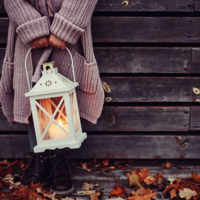 Candle lanterns make for a great base to add all kinds of beautiful fall decor items!