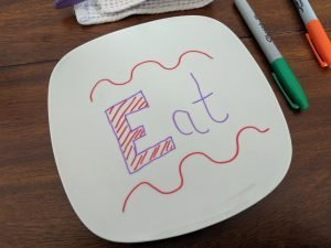 A nice dinner plate can be personalized with a nice sharpie pen!