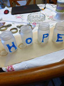 I used painter's tape to stencil my letters!