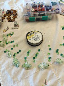 these leafy glass beads needed some crystal beads for added spunk!