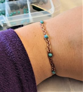 Once you're finished braiding you have a lovely bracelet that is ready for wear!