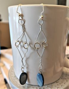 Once done, use some split rings to attach everything and top with an earring hook