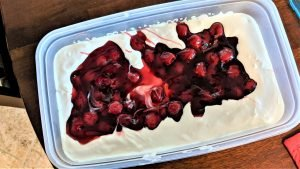 The cherries give this cream cheese dip a holiday color!