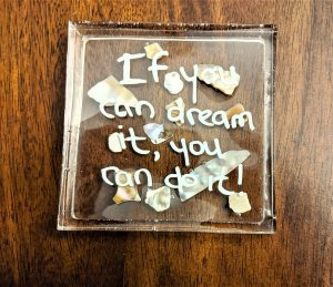If you have someone who loves a pithy quote, check out this resin coaster idea!