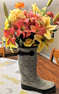 A lovely rain boot can make a unique vase!
