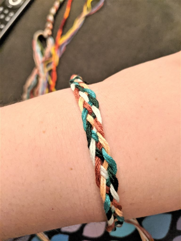 Once you've woven a decent length, your bracelet is ready to wear!
