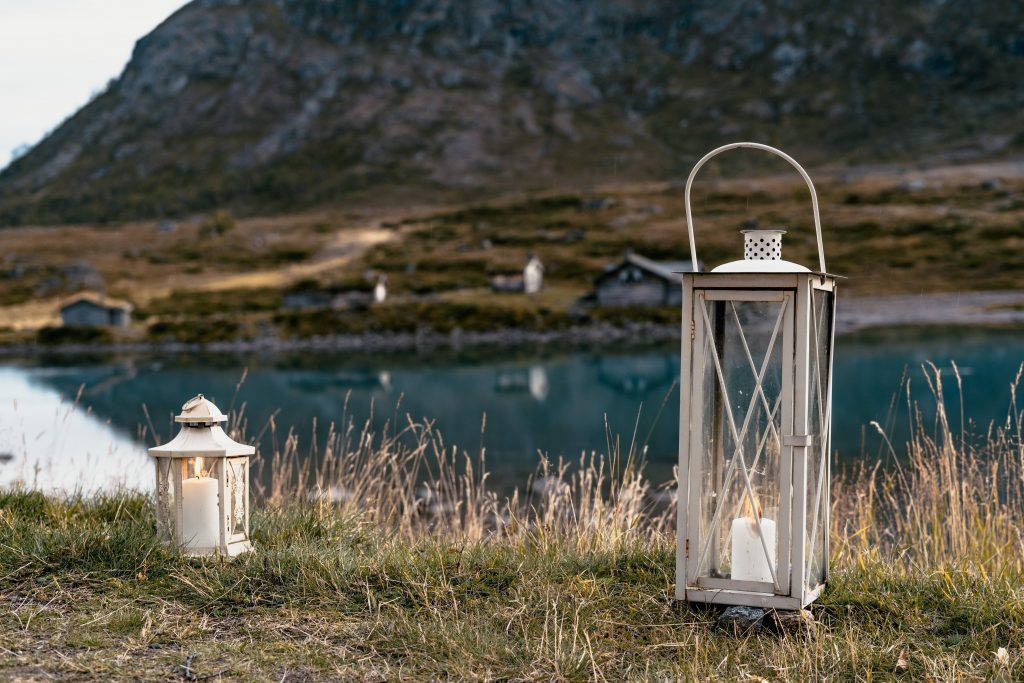 Lanterns like these are rustic and natural looking and can create a lovely look.