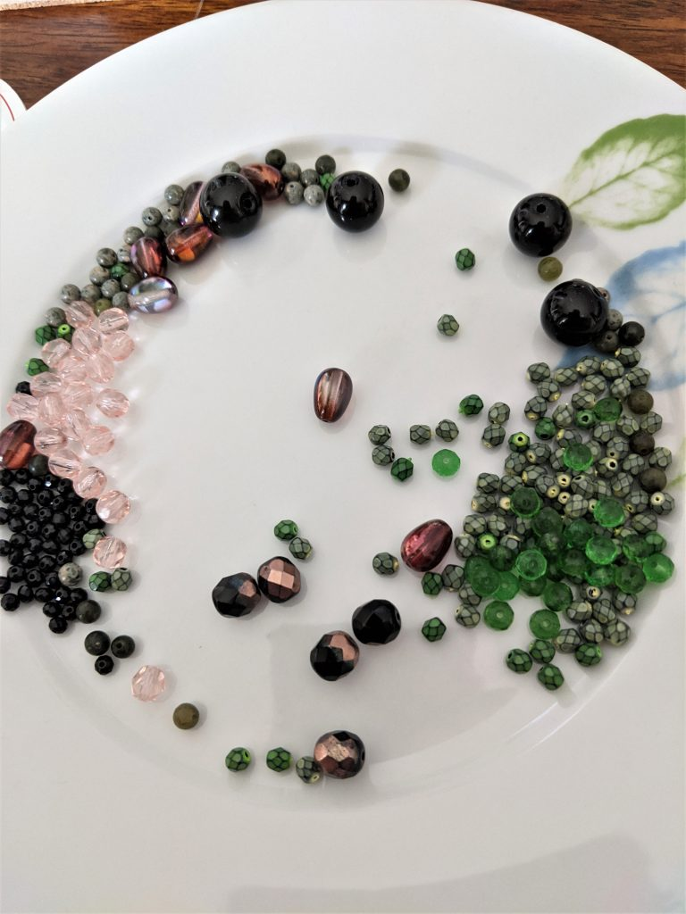 A bowl or plate can be useful for containing all your beads!