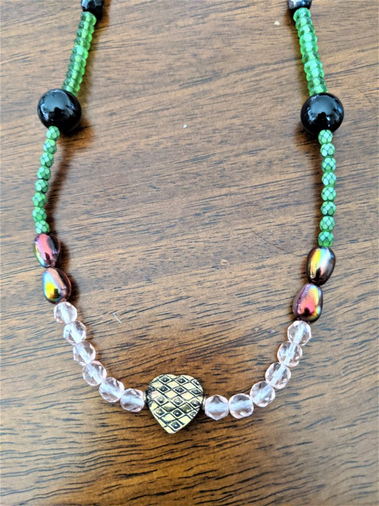 Here is my finished scrap necklace project!!
