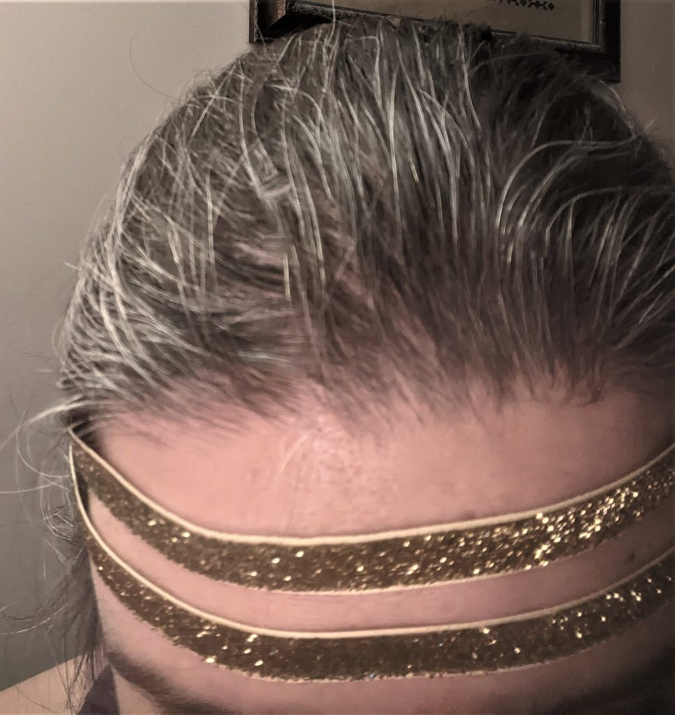 The headpiece as I work on it, picture it with the black wig and pretend I don't have a ton of grey hair!