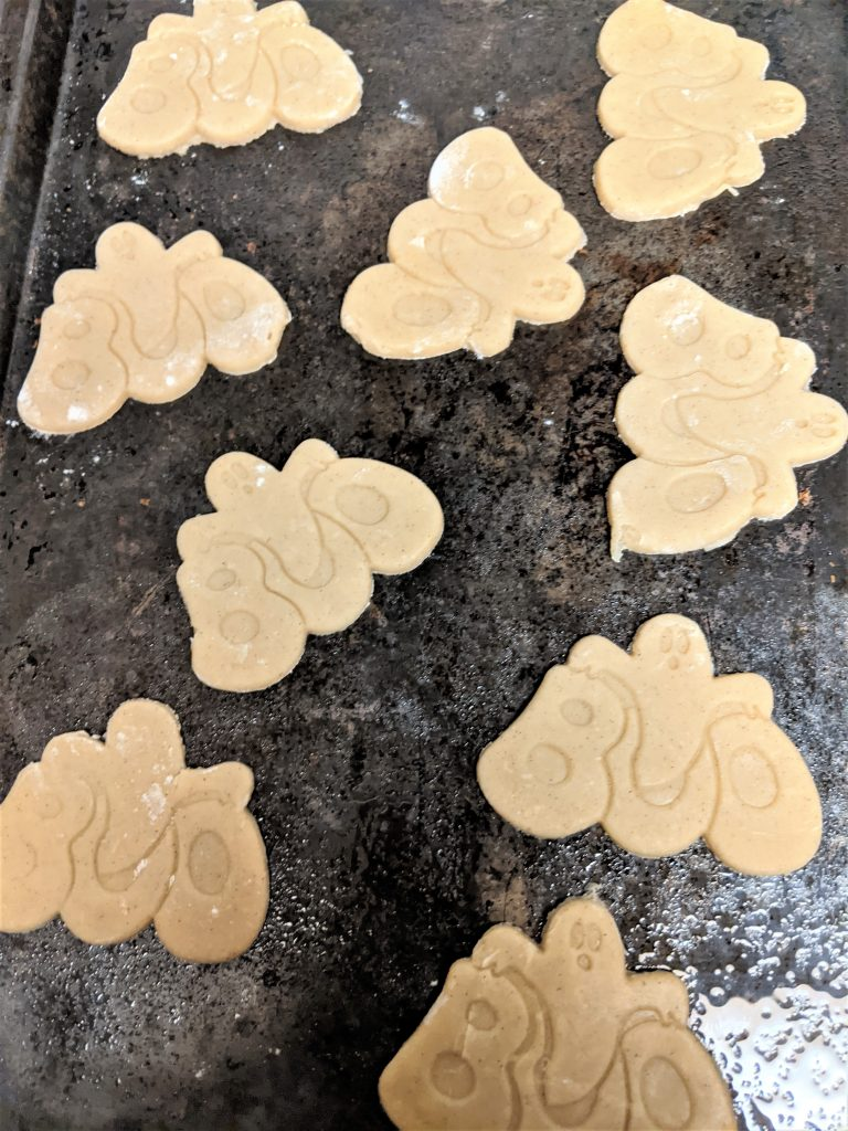 Once you've cut your cookie, I recommend placing them directly on a lightly greased tray so they are ready to just stick in the oven!
