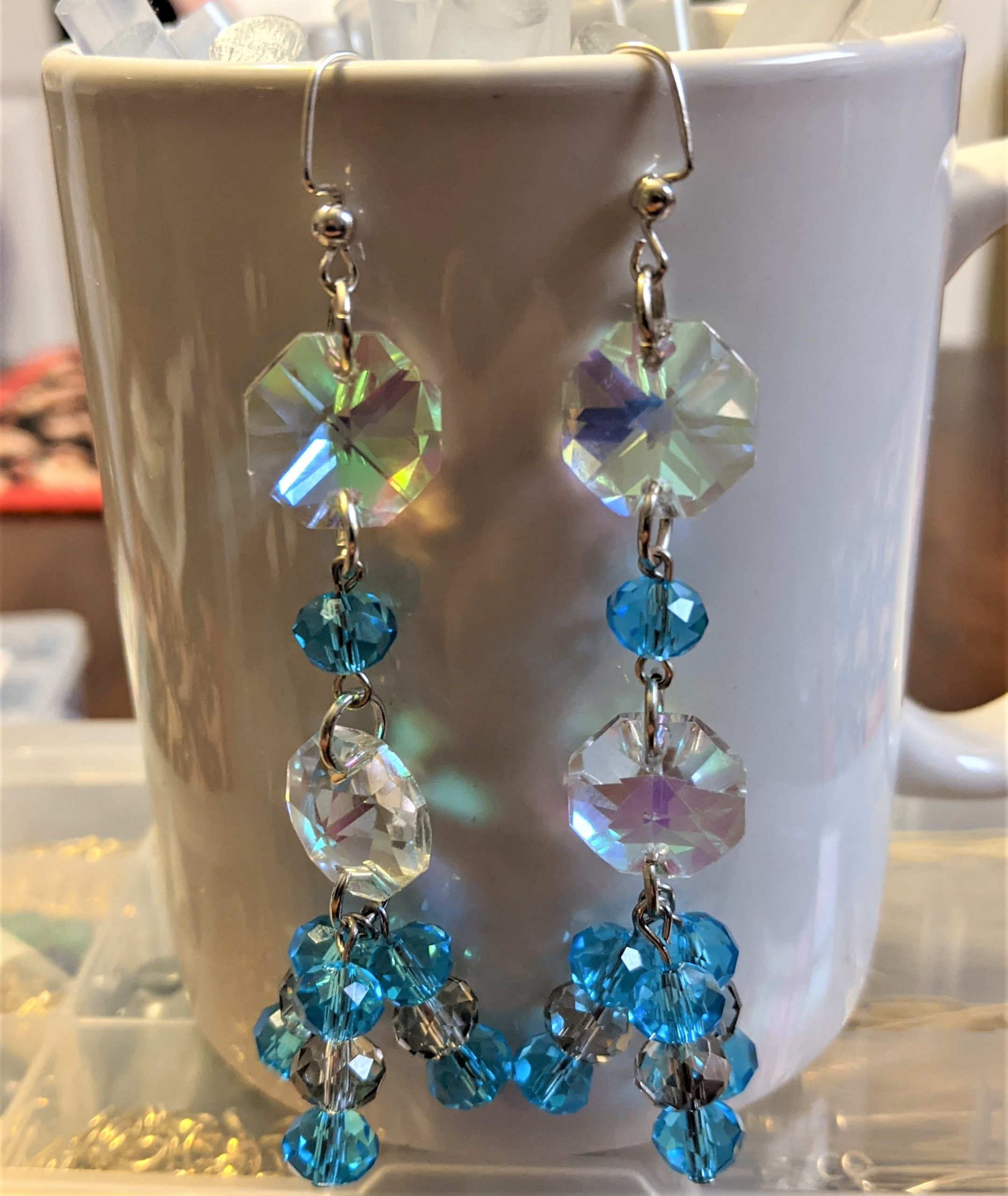 Once you have connected all your pieces, you have a beautiful pair of chandelier earrings ready to wear!!